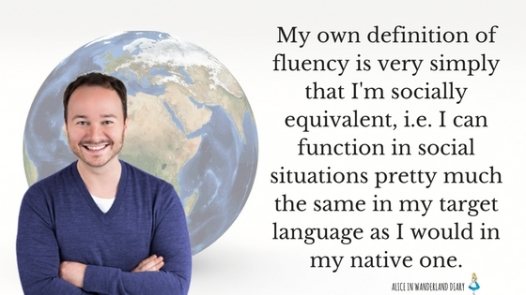 My own definition of fluency is very simply that I'm socially equivalent, i.e. I can function in social situations pretty much the same in my target language as I would in my native one.